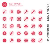 settings icon set. collection... | Shutterstock .eps vector #1307578714