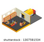 loading or unloading a truck in ... | Shutterstock . vector #1307581534