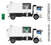 realistic garbage truck... | Shutterstock . vector #1307585014