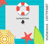 summer time raster banner... | Shutterstock . vector #1307593687