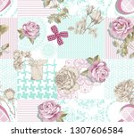 daisy duvet cover pattern with... | Shutterstock . vector #1307606584