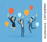 business people celebrating in... | Shutterstock . vector #1307608984