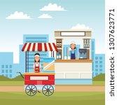 pop corn cart cartoon   Shutterstock .eps vector #1307623771