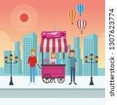 cotton candy cart cartoon   Shutterstock .eps vector #1307623774