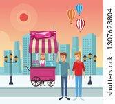 cotton candy cart cartoon   Shutterstock .eps vector #1307623804