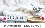 cozy home composition on wooden ... | Shutterstock . vector #1307627977