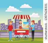 pop corn cart cartoon | Shutterstock .eps vector #1307628331