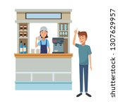 coffee shop cartoon | Shutterstock .eps vector #1307629957