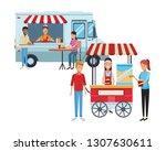 pop corn cart cartoon   Shutterstock .eps vector #1307630611
