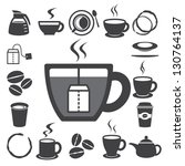 coffee cup and tea cup icon set.... | Shutterstock .eps vector #130764137