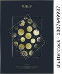 golden circles . bronze polka... | Shutterstock .eps vector #1307649937