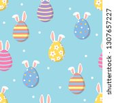 cute easter eggs and bunny ears ... | Shutterstock .eps vector #1307657227