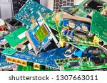 e waste heap from old discarded ... | Shutterstock . vector #1307663011