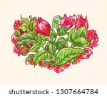 decorative bouquet  floral... | Shutterstock .eps vector #1307664784