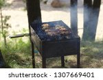 forest bbq on the brazier | Shutterstock . vector #1307669401