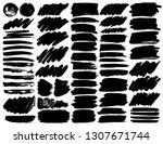 big set of brush strokes  black ... | Shutterstock .eps vector #1307671744