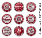 set of quality red silver badge ... | Shutterstock .eps vector #1307685574