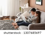 cute little children with... | Shutterstock . vector #1307685697