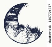 moon and mountains tattoo and t ... | Shutterstock .eps vector #1307706787