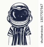boy in astronaut helmet. tattoo ... | Shutterstock .eps vector #1307707567