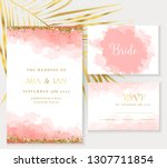 stylish coral watercolor and... | Shutterstock .eps vector #1307711854