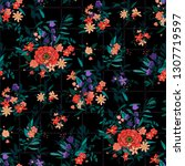 trendy bright floral pattern in ... | Shutterstock .eps vector #1307719597