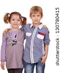 little girl and boy posing on... | Shutterstock . vector #130780415