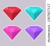vector set of jewelry gems icon.... | Shutterstock .eps vector #1307827117