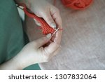 knitting. women knitts. hands... | Shutterstock . vector #1307832064