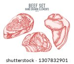 vector collection of hand drawn ... | Shutterstock .eps vector #1307832901