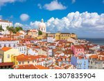 lisbon  portugal city skyline... | Shutterstock . vector #1307835904