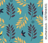 spring flowers seamless pattern.... | Shutterstock .eps vector #1307846431