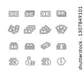 currency related icons  thin... | Shutterstock .eps vector #1307849101