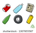 recyclable materials. vector... | Shutterstock .eps vector #1307855587