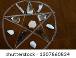 healing crystals  clear quartz  ... | Shutterstock . vector #1307860834