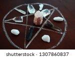 healing crystals  clear quartz  ... | Shutterstock . vector #1307860837