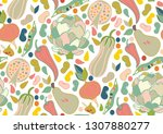 seamless pattern of veggies... | Shutterstock . vector #1307880277