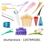 set of hair accessory. hairpins ... | Shutterstock .eps vector #1307890381