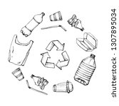 plastic products recycling.... | Shutterstock .eps vector #1307895034