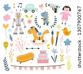 funny kids vector set with toys ...   Shutterstock .eps vector #1307900767