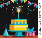 birthday cake with candle and... | Shutterstock .eps vector #1307916667