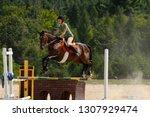 female jumper soaring over a...   Shutterstock . vector #1307929474