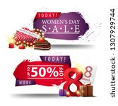 two modern discount women's day ... | Shutterstock .eps vector #1307929744