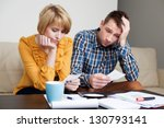 sad  depressed young couple... | Shutterstock . vector #130793141