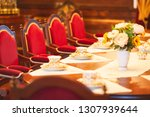 dining room of medieval castle...   Shutterstock . vector #1307939644