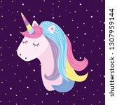 unicorn head on space...   Shutterstock .eps vector #1307959144
