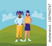 couple of girls interracial... | Shutterstock .eps vector #1307963767