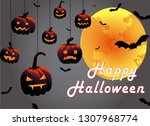 happy halloween pumpkin... | Shutterstock .eps vector #1307968774