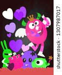 vector set of cute love... | Shutterstock .eps vector #1307987017