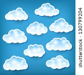 set of clouds on blue | Shutterstock .eps vector #130799204
